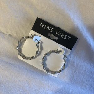 Nine West Silver Spiral Hoops!